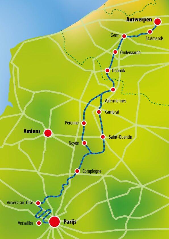 Antwerpen Paris routekarte
